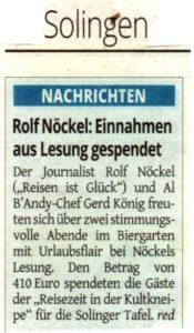 Rolf Noeckel; Einnahmen aus Lesung gespendet